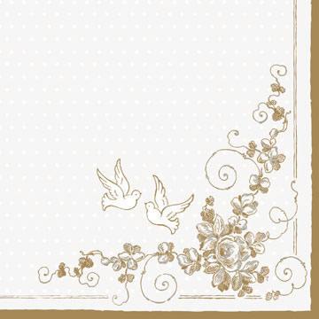 80x Servietten 33x33cm Creme Gold Blumen Tauben Hochzeit Ebay
